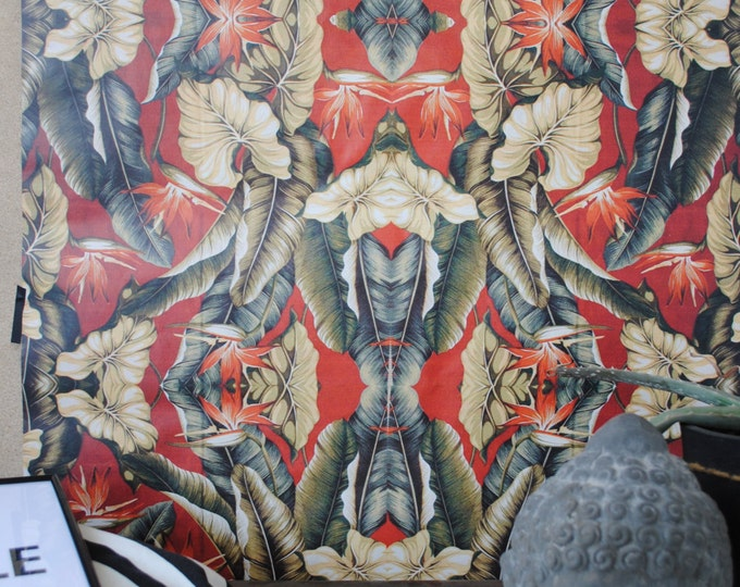 Vintage Wallpaper, Tropical Wallpaper, Retro wallpaper, tropical, wall decor, botanical wallpaper, flowers wallpaper, floral wallpaper