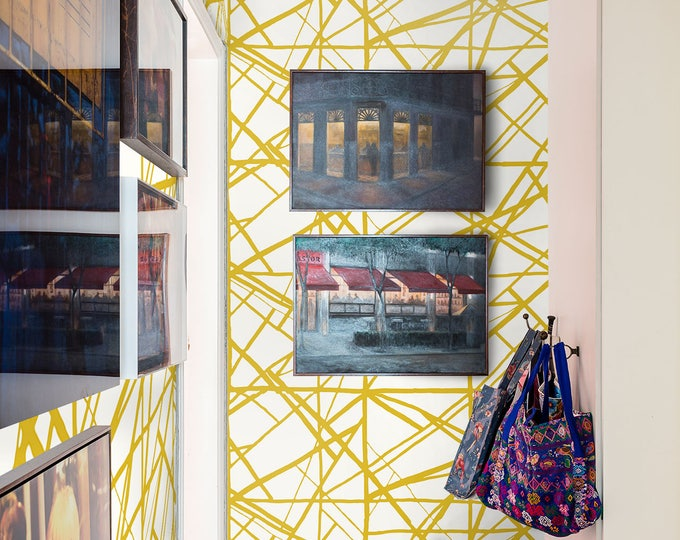 Gold Wallpaper, Modern Home Décor, Geometric Print, Art Deco Wallpaper