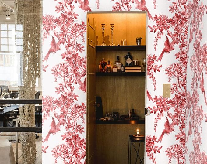 CUSTOM Vintage birds Wallpaper, birds wallpaper, Floral Wallpaper, Royal garden Wallpaper, botanical wallpaper, Asian Wallpaper, wall decor,