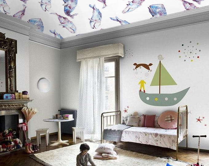 Whales Wallpaper - Children Wallpaper - Wallpaper Bedroom - Wallpaper for Kids Room