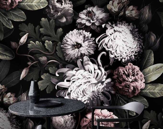 Dark Floral Wallpaper, floral wallpaper, dark flowers, Peony wallpaper, Black Floral, Wallpaper, removable wallpaper, tropical wallpaper,