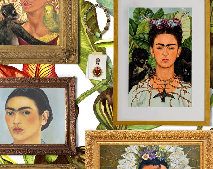 Iconic Frida Kahlo, Retro Wallpaper, Feminist Art Print, Feature Wall