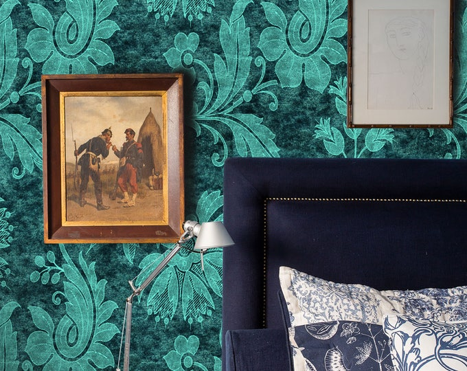 Antique Victorian Turquoise Damask Wallpaper for French Country Décor