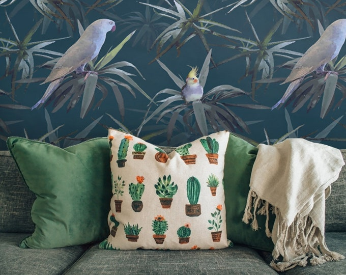 Tropical Parrots Wallpaper, Tropical wallpaper,  parrots, wallpaper, parrot wallpaper, wall art, birds, birds wallpaper, tropical decor,