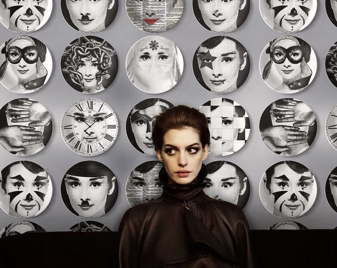 Vintage faces Wallpaper, Icon wallpaper, inspired fornasetti wallpaper, inspired piero fornasetti