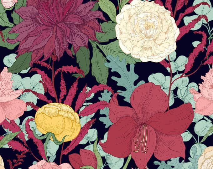 Red Floral Botanical Print Wallpaper
