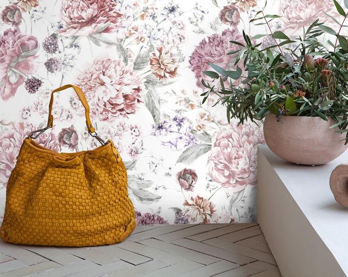 Soft Light Floral Wallpaper, watercolor wallpaper, floral wallpaper, light flowers, Peony wallpaper, Rose Floral, removable wallpaper