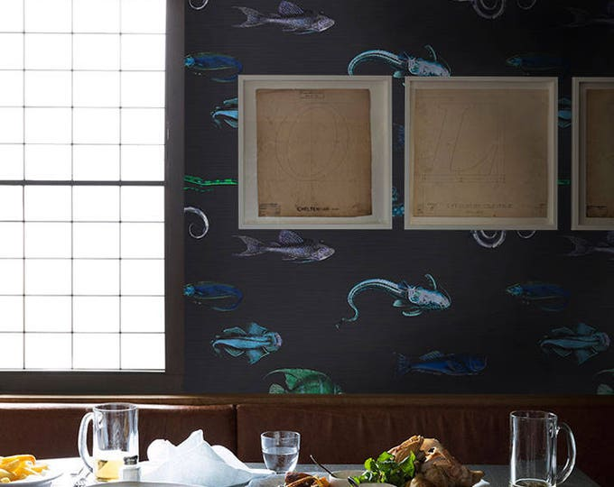 Fish wallpaper, acquario wallpaper, cole son, fishes, tropical wallpaper, fornasetti wallpaper, fish fornasetti, removable wallpaper,