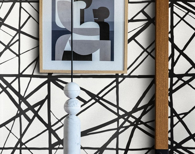 Geometric wallpaper, Striped Wallpaper, inspired Harlequin Sumi, black wallpaper, Channel Wearstler