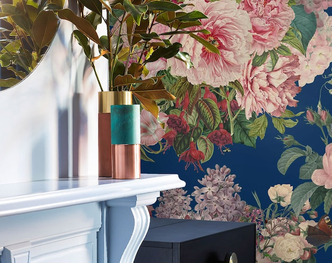 Romantic Wallpaper Covered in a Gorgeous Pink Floral Print on Navy Blue Background for a Modern Maximalist Décor
