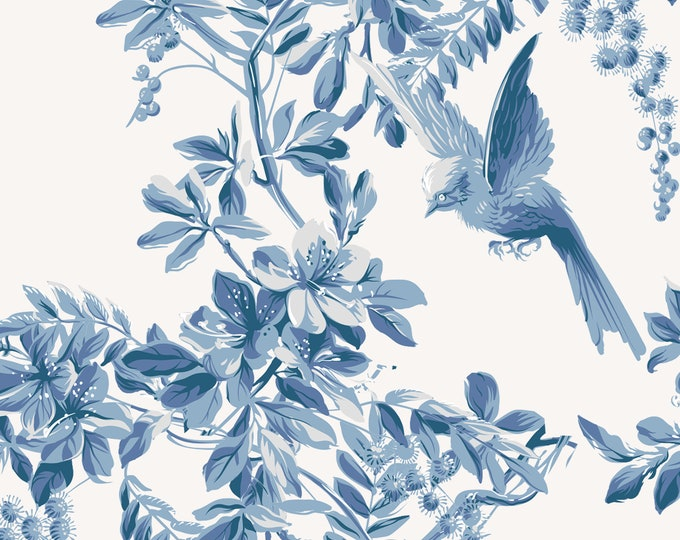 Vintage Blue Flowers and Birds Wallpaper