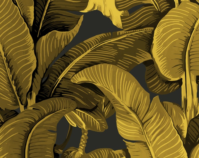 Gold Banana Leaf Wallpaper on Dark Gray Background for Tropical Beach House Décor