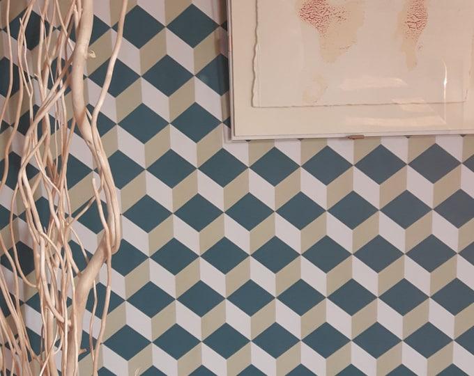 Vintage Cubic Wallpaper, Isometric Wallpaper, Vintage isometric Wallpaper, cubes wallpaper, vintage decor, cube wallpaper