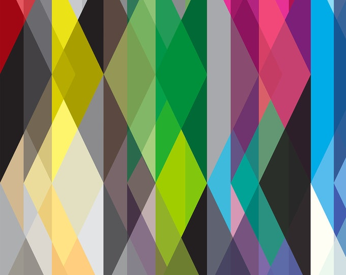 Colored Prisms Wallpaper, Mid Century Modern, Art Deco Wallpaper, Geometric Wall Paper