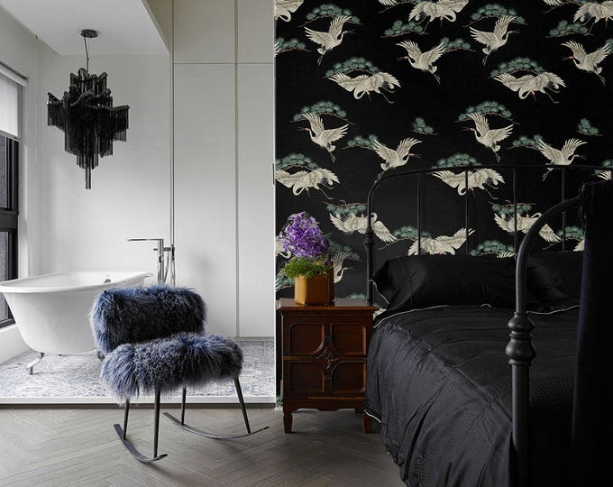 Heron Wallpaper, Asian Wallpaper, black Wallpaper, wallpaper, Bird Wallpaper, Japanese Wallpaper, heron design, chinoiserie, herons, mural