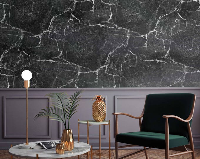 Black Marble Wallpaper - Black Marble Walldecor .