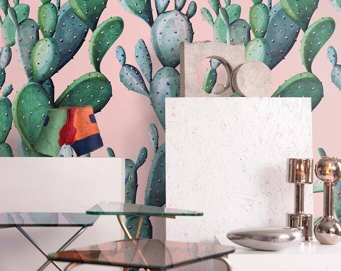 Cactus Wallpaper, cactus, wallpaper, watercolor wallpaper, watercolor, botanical wallpaper, removable wallpaper, wood wallpaper, wall art