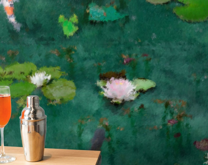 Monet water lily wallpaper, waterlily flower wallpaper, monet wallpaper, water lily wallpaper, watercolor floral wallpaper