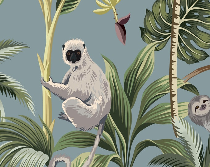 Custom Tropical Jungle Wallpaper for Nursery or Kids Room Décor