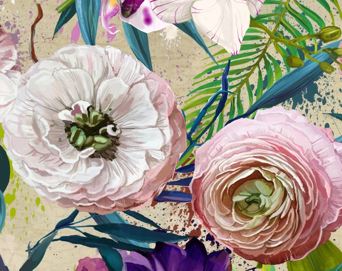 Peony and Rose Floral Feature Wallpaper for a Baby Girl Nursery or Bedroom Décor