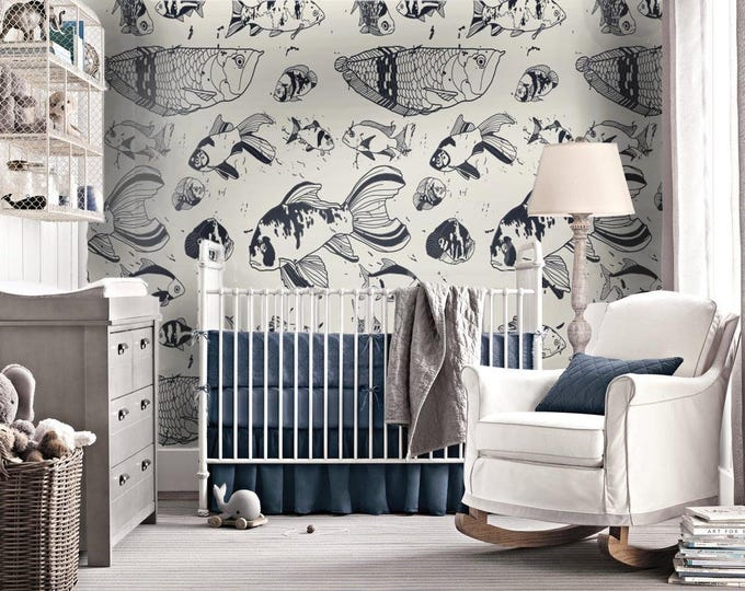Fishes Wallpaper - Children Wallpaper - Wallpaper Bedroom - Wallpaper for Kids Room