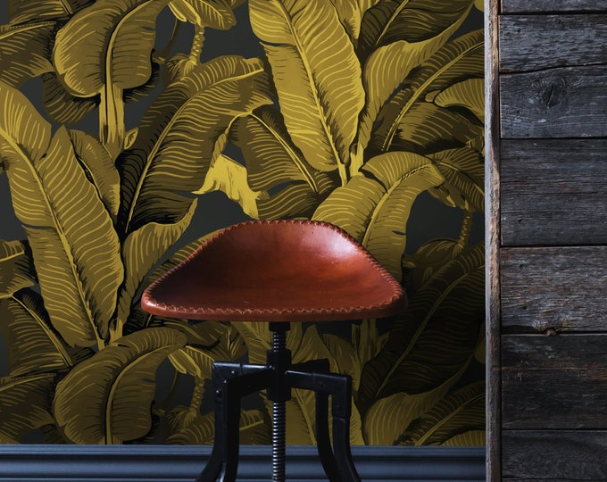 Gold Banana Leaf Wallpaper, Leaves Wallpaper, Tropical Wallpaper, Wall Paper, Paper, Wall Art, Wall Decor, Banana Wallpaper