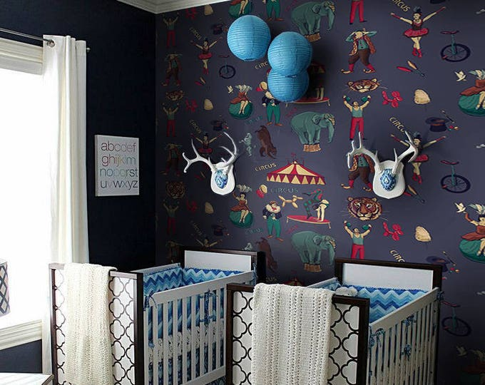 Whimsical Circus Wallpaper for Boys Room Decor, Nursery Wallpaper, Vintage Wallpaper