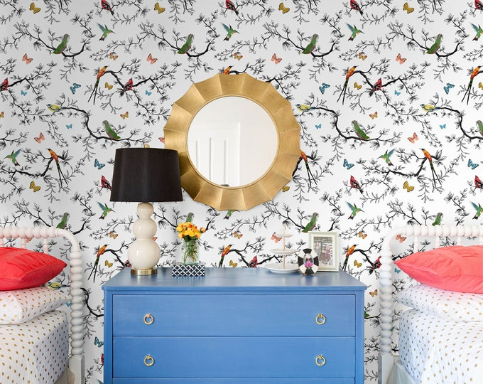 Bird and Butterfly Wallpaper for Childrens Room Décor