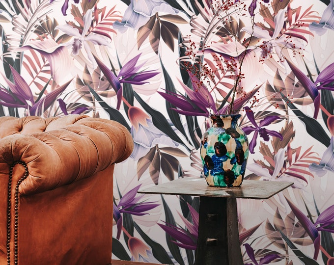 Exotic Tropical Print Wall Paper, Floral Wallpaper, Modern Beach House Décor