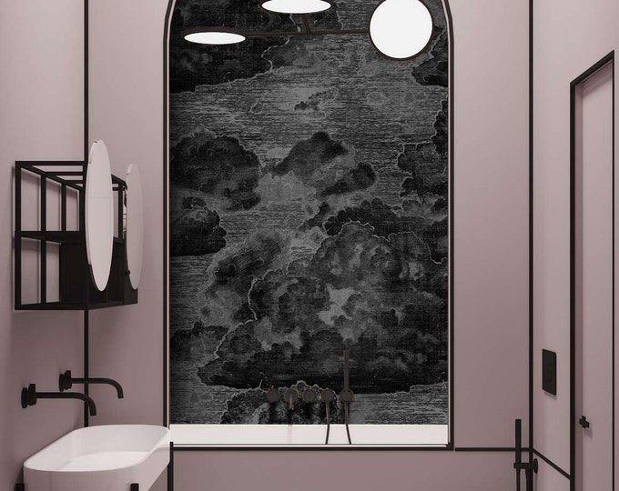 Inspired by Fornasetti Print, Vintage Style Clouds, Art Deco Wallpaper, Boutique Wall Décor, Custom Order