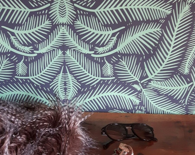 Exotic Tropical Wallpaper on Black Background for Beach House Décor
