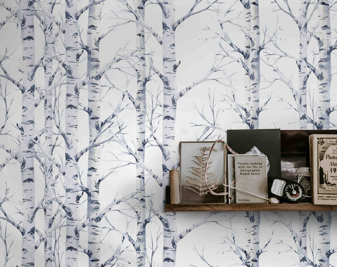 Wood wallpaper, Birch wallpaper, Forest wallpaper, birch tree wallpaper, tree wallpaper, wallpaper