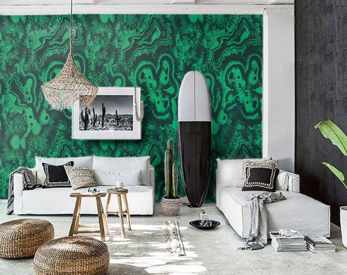 Nature Inspired Print with Green and Black, Art Deco Wallpaper for Accent Wall, Modern House Decor