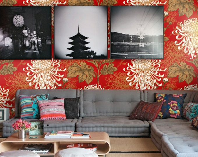 Red Floral Print, Asian Wallpaper, Feng Shui Décor