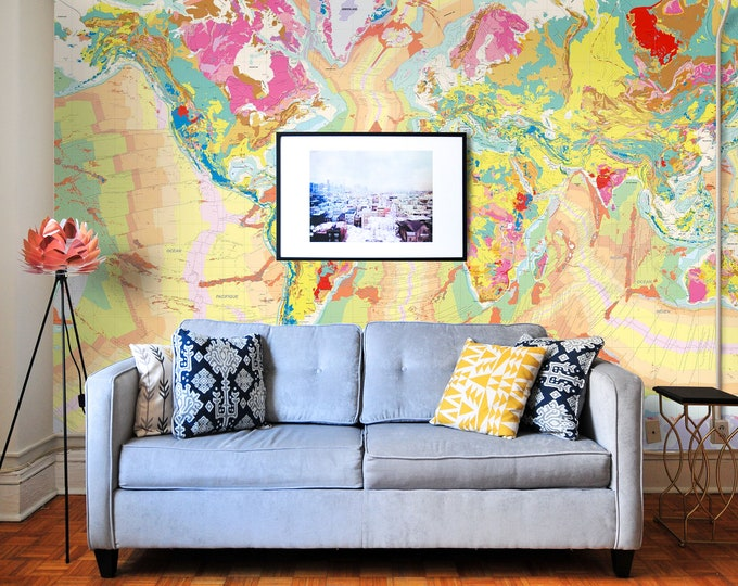 Geological Map Wallpaper, planisphere, wallpaper, vintage map, map, old map, antique map, world, vintage, geological map of the world