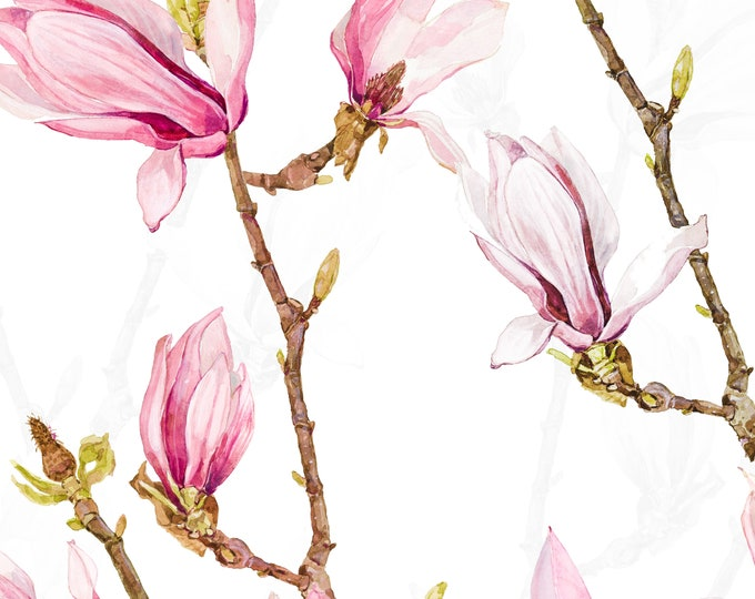 Magnolia flowers wallpaper, spring bloom wall art, cherry blossom wallpaper, pink floral mural