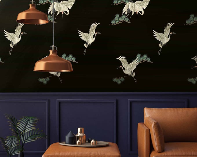 Japanese Print Chinoiserie Birds on Black Wallpaper