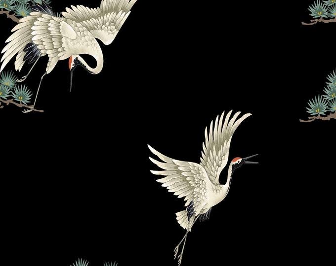 Japanese Print Chinoiserie Birds on Black Wallpaper