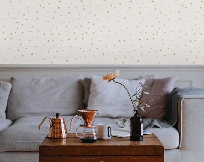 Gold Dots Wallpaper, Modern Home Decor, Girls Room Decor, Nursery Wallpaper