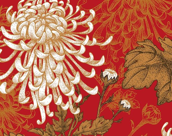 Red Floral Print, Asian Wallpaper, Feng Shui Décor
