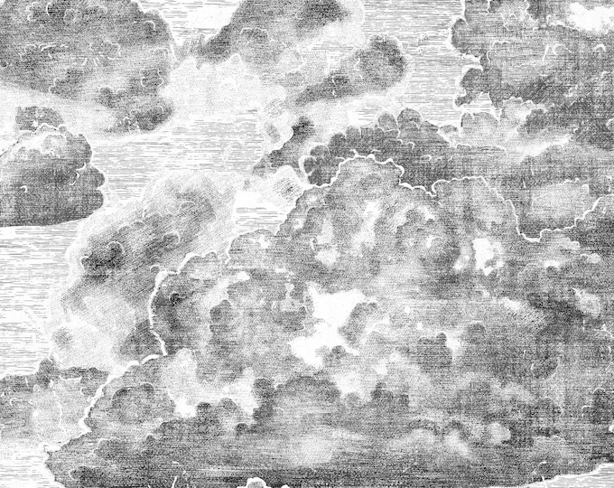 Vintage Style Clouds Art Deco Wallpaper, Boutique Wall Décor