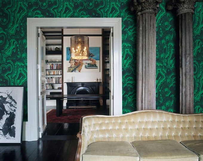 Malachite wallpaper, Green Malachite, malachite stone, malachite wall art, wallpaper, green wallpaper, removable wallpaper