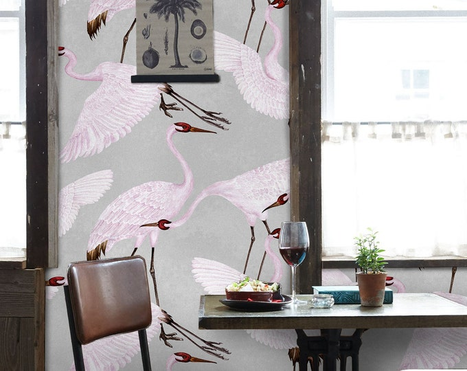 Heron print wallpaper, Chinoiserie Wallpaper, Gucci Wallpaper, vintage wallpaper, oriental flamingo wallpaper
