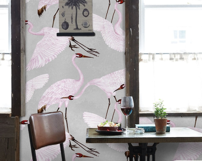 Heron print wallpaper, Gucci Wallpaper, Chinoiserie Wallpaper, Chinoiserie, Herons, Bird wallpaper, vintage wallpaper, oriental wallpaper