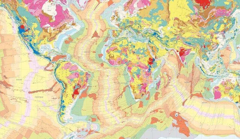 Geological Map Wallpaper planisphere wallpaper vintage map   Etsy