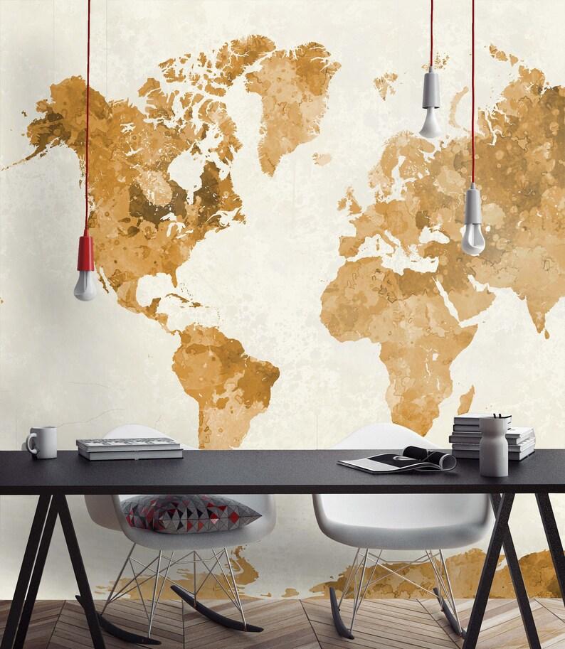 World Map Wallpaper planisphere wallpaper vintage map map   Etsy