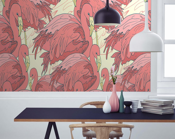 Flamingo Wallpaper, Flamingo, flamingos, wallpaper, tropical wallpaper, pink wallpaper, cole and son, pink flamingo, watercolor wallaper