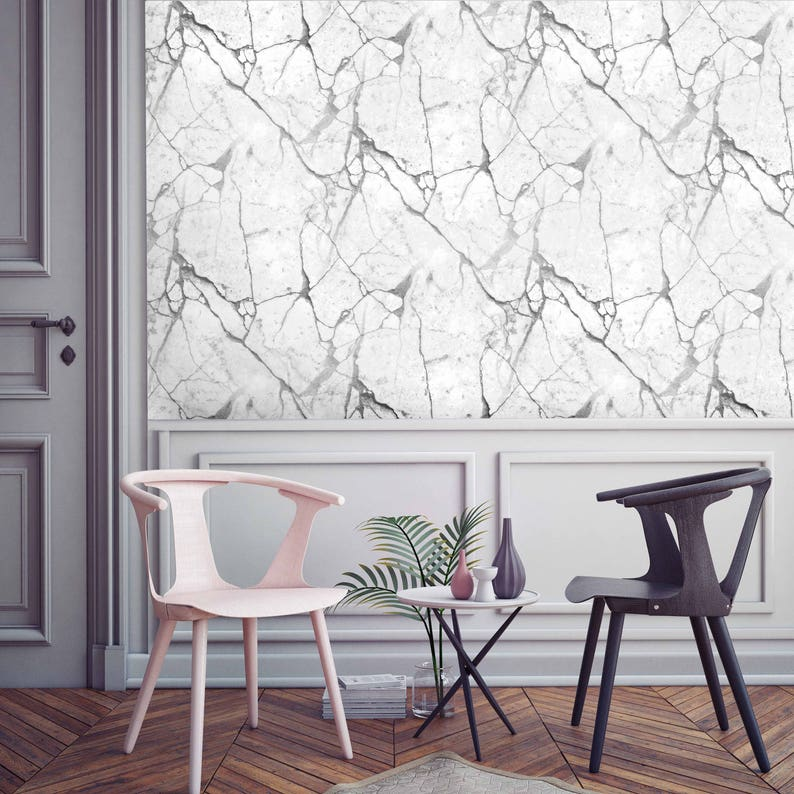 White marble wall covering MARBLE WALLPAPER