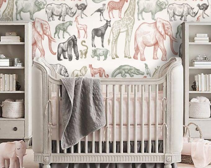 Animals Wallpaper - Children Wallpaper - Bedroom Wallpaper - Kids Wallpaper for Bedroom
