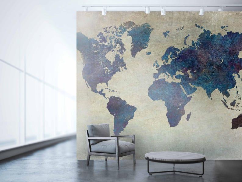 Welp Planisfeer behang grote wereldkaart kunst aan de muur wereld | Etsy XE-46